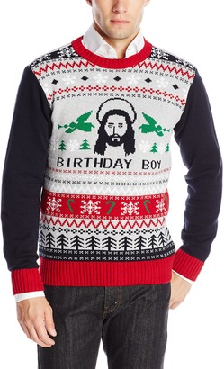 Ugly Christmas Sweater Company Men's Assorted Jesus Crew Neck Xmas Sweaters