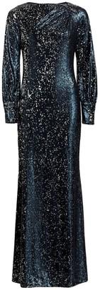 Teri Jon By Rickie Freeman Embellished Long-Sleeve Sequin Dress