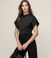 Reiss Della - High-neck Short Sleeved Top in Black, Womens