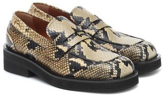 Marni Snake-effect leather loafers