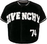 Givenchy cropped logo jacket - women - Cotton/Lamb Skin/Polyamide/Beaver Fur - 38