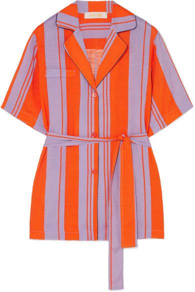 Diane von Furstenberg Striped Silk-blend Gauze Shirt - Papaya