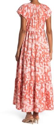 Donna Morgan Short Sleeve Tiered Maxi Dress