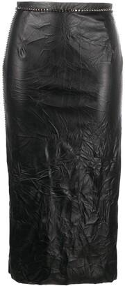 No.21 Crystal-Embellished Eco-Leather Pencil Skirt
