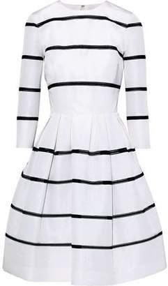 Carolina Herrera Pleated Crochet-trimmed Silk-faille Dress