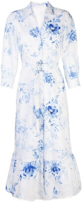 Marchesa Floral Print Shirt Dress