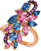 LeVian Le Vian Precious Collection Multi-Gemstone (3-1/2 ct. t.w.) and Diamond (1/6 ct. t.w.) Cluster Ring in 14k Rose Gold