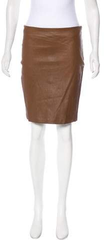 The Row Leather Mini Skirt