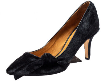 Isabel Marant Black Calf Hair Pealman Bow Pointed Pumps Size 37