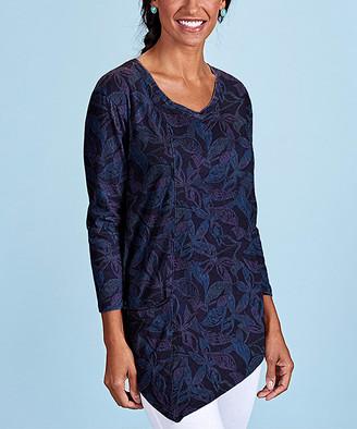Fresh Produce Women's Tunics BLACK - Black Beachside Blooms Ella Pocket Asymmetrical-Hem Tunic - Women