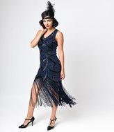 Unique Vintage Iconic by UV Black & Blue Beaded Mesh Isadora Fringe Flapper Dress