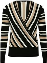 M&Co Striped wrap front jumper