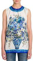 Dolce & Gabbana Floral Tile-Print Silk Twill Tunic Top