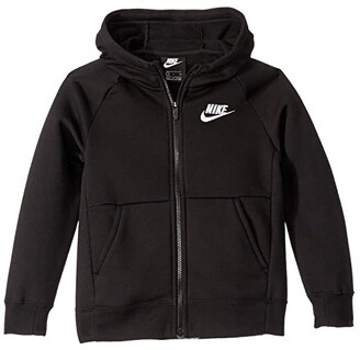 Nike Kids NSW Full Zip Fleece (Little Kids/Big Kids) (Black/White) Girl's Sweatshirt