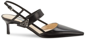 Prada Leather Kitten-Heel Slingback Pumps