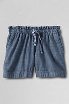 Classic Girls Plus Pull-on Woven Chambray Shorts-Chilled Gray Print
