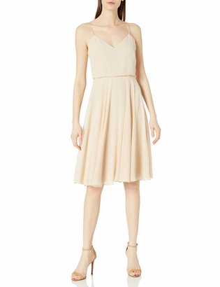Jenny Yoo Women's Sienna V-Neck Spaghetti Strap Short Chiffon Dress