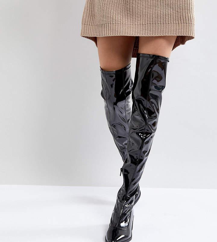 Monki Knee High Patent Boot