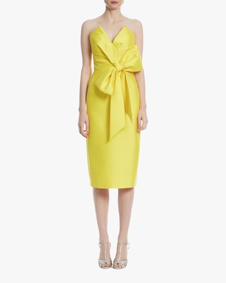 Badgley Mischka Marigold Strapless Bow Cocktail Dress