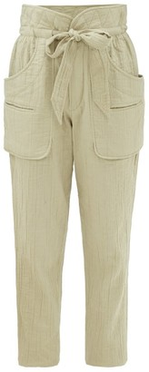 Etoile Isabel Marant Bessie Paperbag-waist Canvas Trousers - Khaki