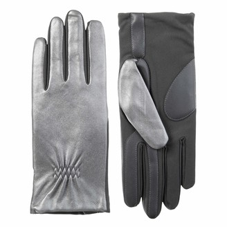 Isotoner womens Classic Stretch Leather Touchscreen Gloves Fleece Lining Cold Weather Gloves