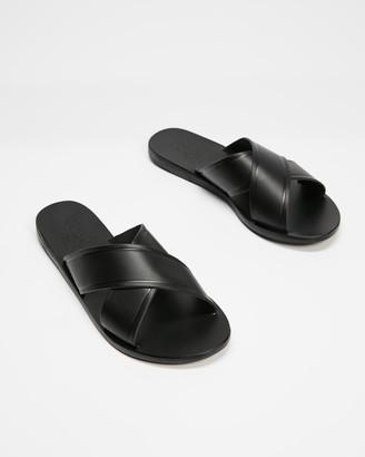 Ancient Greek Sandals Women's Black Flat Sandals - Thais - Size 38 at The Iconic