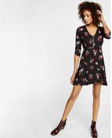 Express three-quarter sleeve zip front dress