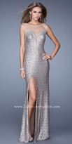 La Femme Sequin Sheer Illusion Prom Dress