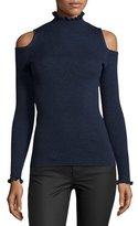 Rebecca Taylor Cold-Shoulder Ribbed Merino Sweater, Blue/Black
