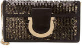 Salvatore Ferragamo Thaila Sequin Embossed Leather Clutch