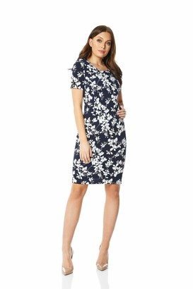 Roman Originals Floral Print Bodycon Dress in Black - Ladies Everyday Smart Casual 1940 Evening Work Office Meeting Comfortable Round Neck Knee Length Midi Jersey Dresses - Navy - Size 18