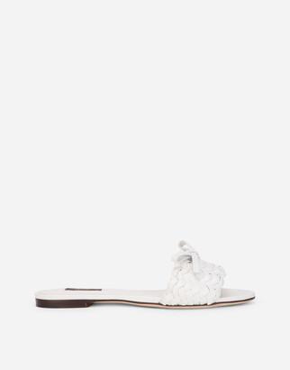 Dolce & Gabbana Woven Nappa Leather Sliders