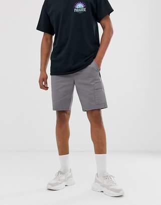 Asos Design DESIGN slim cargo shorts with webbed utility belt-Gray