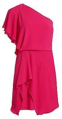 Halston Women's Draped Skirt Flowy One Shoulder Dress - Size 0