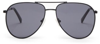 Le Specs Road Trip Aviator Metal Sunglasses - Womens - Black Grey