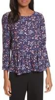 Rebecca Taylor Woodland Floral Print Silk Top