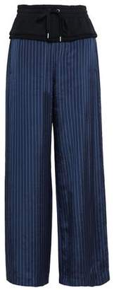 Alexander Wang French Cotton Terry-paneled Pinstriped Twill Wide-leg Pants