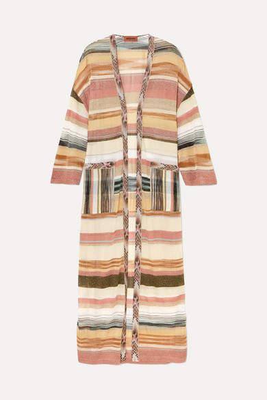 Missoni Oversized Striped Metallic Crochet-knit Cardigan - Beige