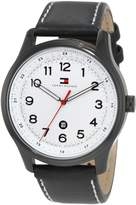 Tommy Hilfiger Men's Classic Black IP Case and Leather Strap Watch 1710309