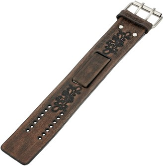 Nemesis BVFB-K 38mm Faded Embossed Flower Patent Leather Black Watch Strap
