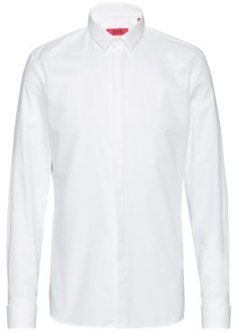 HUGO Extra-slim-fit cotton shirt with double cuffs