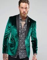 Asos Skinny Velvet Blazer In Green