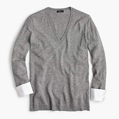 J.Crew V-neck sweater with shirt cuffs