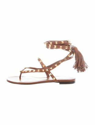 Valentino Leather Tassel Accents Gladiator Sandals Brown