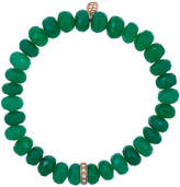 Sydney Evan Green onyx beaded bracelet with diamond wheel rondelle charm