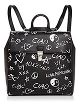 Love Moschino Graffiti Leather Backpack