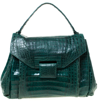 Nancy Gonzalez Nancy Gonzales Green Crocodile Flap Top Handle Bag