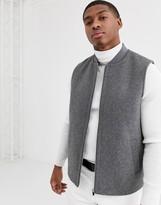 Asos Design DESIGN wool mix vest in light gray