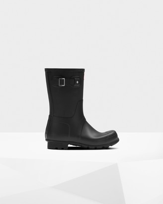 Hunter Men's Original Short Exploded Logo Texture Rain Boots