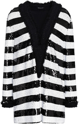 Balmain Striped Sequined Frayed Boucle-tweed Top
